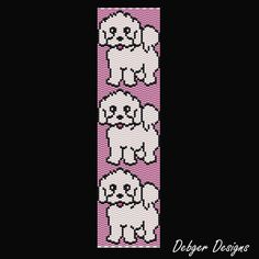 peyote beaded dog bracelet | Bichon Frise - Beaded Peyote Bracelet Cuff Pattern | DebgerDesigns ...