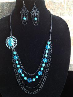 Black Statement NecklaceTurquoiseLayered by DesignsbyStalinda, $52.00