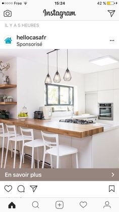 Nice and thick, not too high off counter, continues toward wall, floating shelves? Open Plan Kitchen Living Room, Condo Kitchen, Open Space Living, New Kitchen, Vintage Kitchen, Kitchen Remodel, Kitchen Decor, Kitchen Design, Modern Farmhouse Kitchens
