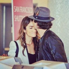 Ian Somerhalder and Nikki Reed just can't stand to be apart. The hot couple shared a sweet kiss at LAX on Oct. 10 before departing for Atlanta so Ian can continue filming 'The Vampire Diaries'. Hot Couples, Couples In Love, Celebrity Couples, Celebrity Style, Adorable Couples, The Vampire Diaries, Hollywood Couples, Hollywood Life, Damon Salvatore