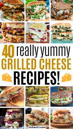 These 40 grilled cheese recipes are really mind blowing! I'm so glad I found these amazing grille cheese recipes! There are so many variations! Grilled Cheese Recipes Easy, Grilled Cheese Bar, Grilled Sandwich Recipe, Grilled Cheese Sloppy Joe, Grilled Cheese Avocado, Pesto Grilled Cheeses, Sandwich Recipes, Grilled Oysters, Steak Sandwiches