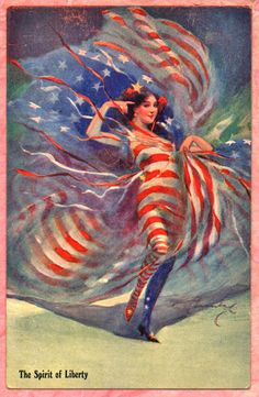 Collectible Patriotic Gorgeous A s Postcard The Spirit of Liberty Super Image | eBay