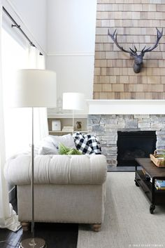 Matching Floor Lamps flanking a Sofa / jones design company Living Room On A Budget, Cozy Living Rooms, Living Room Modern, Living Room Designs, Living Room Decor, Bedroom Decor, Interior Design Tools, Jones Design Company, Living Room With Fireplace