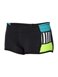 """92% Nylon 8% Elastane Hyperstretch 2mm Neoprene Elastic waist neoprene short can be worn in the water or on the land. Color blocked side panels, and raised side hem. Binding on leg opening for a more comforatble fit. UPF 50  2"""" (5cm) inseam"""