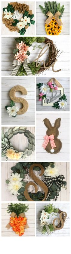 Welcome friends and family into your home with these handcrafted wreaths and door decor options. From classic and simple, to fun and inviting, there is sure to be one to fit with your style! Initial Decor, Initial Wreath, Double Door Wreaths, How To Make Wreaths, Engagement Party Gifts, Valentine Day Wreaths, Decor Ideas, Gift Ideas, Heart Decorations