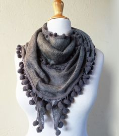 Womens Scarf Catherine in GREY with pompom by OriginalDesignsByAR, $18.00