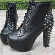 Europea Styles Rivet Rough Heels Lacing White Ankle Spiked Boots in the style of Jeffrey Campbell