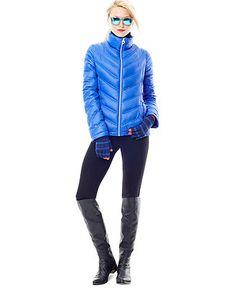 Calvin Klein Coat, Chevron-Quilted Packable Puffer - Coats - Women - Macy's