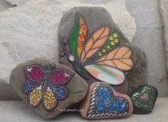 Mosaic Garden Stones- My gosh, the butterfly with peach and green!
