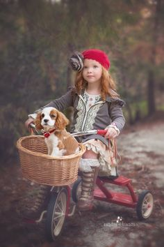 Cute redheaded little girl with my favorite dog, King Charles Cavalier, love !!
