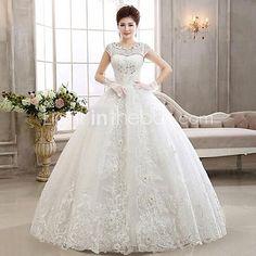 Ball Gown Wedding Dress - Ivory Floor-length Jewel Lace - USD $119.99