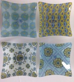 Prima Design Blue Yellow Floral Assorted Jackie Von Tobel Square Glass Dishes 4   eBay