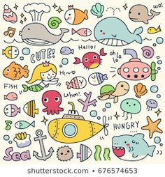 Set of Cute Under the Sea Doodle Cute Easy Drawings, Fish Drawings, Cute Kawaii Drawings, Doodle Drawings, Doodle Art, Kawaii Illustration, Pencil Illustration, Bujo Doodles, Doodle Lettering