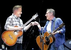 Don Henley, left, and Glenn Frey of the Eagles meet at center stage to begin their concert at the Rimrock Auto Arena at MetraPark on Tuesday, June 2, 2015. Read more: http://billingsgazette.com/news/local/eagles-soar-at-the-metra/article_cd66140d-d936-5577-a2b3-5613fe888493.html#ixzz3c14JT5XY