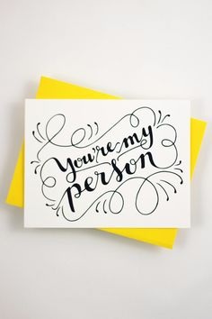 """Tell your BFF or loved one how much they mean to you with this card that features my hand drawn, original lettering. ♥ DETAILS - s i z e : (1) card measuring approx. 4.25"""" x 5.5"""" (when folded) - print"""