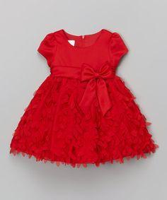 Red Floral Bow Cap-Sleeve Dress - Infant, Toddler & Girls #zulily #zulilyfinds