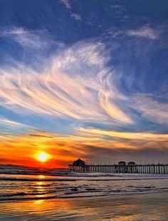 Sunset at Huntington Beach pier | I grew up here and have such fond memories of life at this beach.