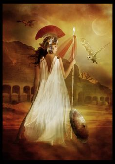 Athena, goddess of wisdom, courage, inspiration, civilization, law and justice, just warfare, mathematics, strength, strategy, the arts, crafts, and skill. Minerva is the Roman goddess identified with Athena.