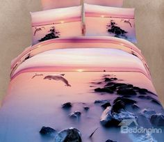 New Arrival Jumping Dolphins and Rocks Print 4 Piece Bedding Sets