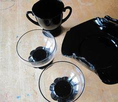 Black Amethyst Glass Dessert Set Black by RushCreekVintage on Etsy