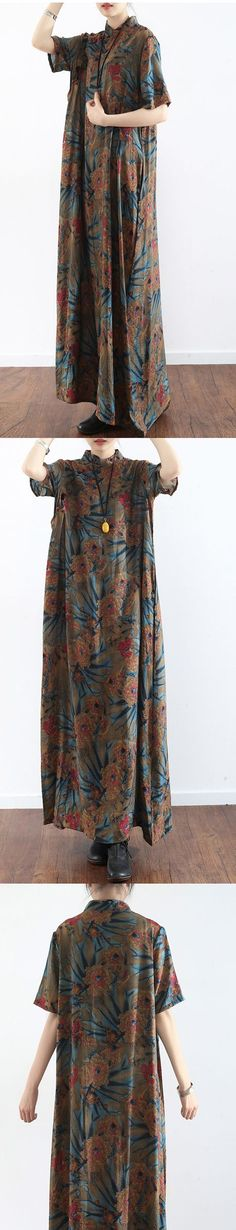 original prints casual linen dresses plus size vintage sundress short sleeve maxi dress