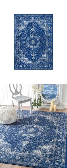 Committed to introducing a dynamic color into your traditional space? If you love blue, you'll adore the Ashleigh Rug. This tribute to textile excellence maintains an aged look with washed effects addi...  Find the Ashleigh Rug in Blue, as seen in the A Modern Bohemian Abode Collection at http://dotandbo.com/collections/a-modern-bohemian-abode?utm_source=pinterest&utm_medium=organic&db_sku=123477