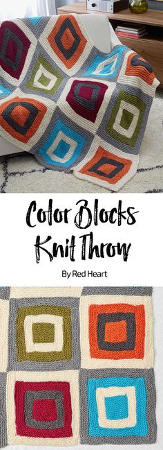 Color Blocks Knit Throw free knit pattern in Soft yarn. Add a modern vibe to your room with this dramatic throw. Twelve easy squares are knit and then sewn together. It's perfect for living areas or bedrooms, in any colors that suit you. #knitthrow