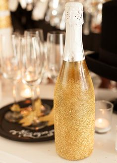 "Add a little sparkle to your champagne and wine bottles for some extra ""wow"" on your party bar! #champagne #celebrations"