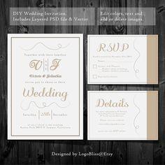 Wedding  Invitation Template -  Instant Download - Printable Invitation - PSD Template - RSVP Card - Details Card -- FlowersEasy DIY