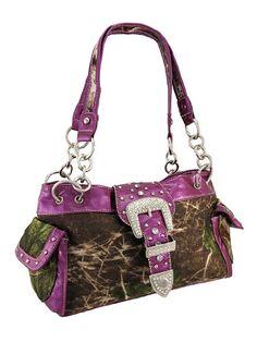 #Handbag - Camouflage Rhinestone Western Buckle Purse Purple Trim - $39.99