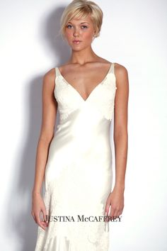 Justina McCaffrey silk charmeuse wedding dress http://www.christiannebrunelle.com/English/