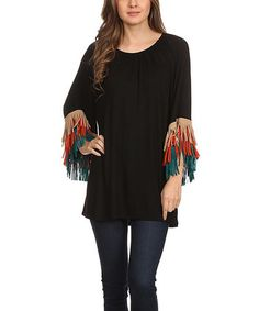 Love this Black & Green Fringe-Trim Off-Shoulder Top - Plus Too on #zulily! #zulilyfinds