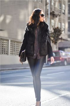 i just broke out my faux fur vest last week, but i need a black one similar to this for winter :)