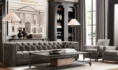 This room is pretty boring and gray, but I do like the couch shape. ---- Rooms   Restoration Hardware