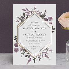 "spot gold foil, purple details (with gray too) // ""Shade Garden"" - Foil-pressed Wedding Invitations in Ink by Robin Ott."