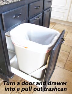 Hardware pocket doors and basement kitchen on pinterest - Small pull out trash can ...