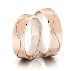 10k Rose Gold Satin Flat Stripes His And Hers Wedding Bands 0.04 Carat Round Diamond 5mm 02205
