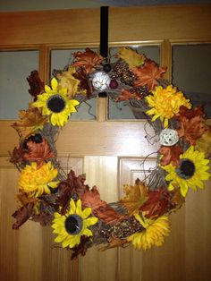 #Fall #grapevine #wreath  by AJDesigns98 on Etsy #grapevine #fall #sunflower #yellow #orange #homemade