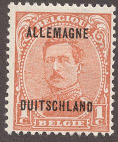 Belgian occupation of Germany –  1919-21 Scott 1N1 1c orange Overprinted Belgian stamps of 1915-20