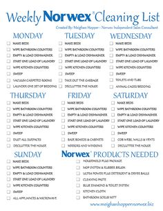 Print this check list, laminate it and check your daily chores off for the day with a dry erase marker! Please go to my website to order your products.. Thanks to Meghan for making this! www.traciderringer.norwex.biz or email me CleanMom@yahoo.com @Balanced HealthNut