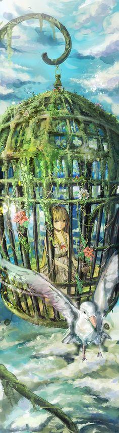 "Tags:     ""bird"" ""blonde hair"" ""dress"" ""flower"" ""long hair"" ""ribbon"" ""sky"" ""yellow eyes""  Artist:     ""Mikaga"""