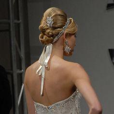 wedding hair   wedding hairstyles up   twisty updo wedding hair   Pnina Tornai Look 1 Fall 2009   WeddingHair.com