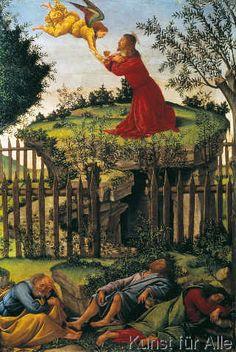 Sandro Botticelli - Renaissance - Agony in the Garden Renaissance Kunst, Renaissance Paintings, Italian Renaissance, Michelangelo, Giorgio Vasari, Italian Painters, Italian Artist, Catholic Art, Religious Art