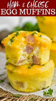 Ham and Cheese Egg Muffins (Easy to freeze and reheat!) - Wine & Glue : These Ham and Cheese Egg Muffins are such an easy delicious breakfasts on the go. Made with simple ingredients, and easy to freeze, your family will love these muffin tin eggs. Breakfast On The Go, Breakfast Bake, Breakfast Dishes, Breakfast Recipes, Breakfast Egg Muffins, Keto Egg Muffins, Breakfast Casserole, Breakfast Ideas With Eggs, Mini Egg Muffins