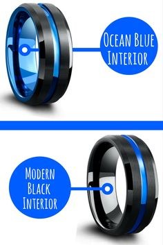 Mens black and blue tungsten wedding rings. They are both the exact same ring except one has a blue interior and the other has a black interior. These are different looking mens wedding rings for sure. Love it.