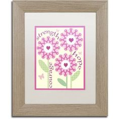 Trademark Fine Art Pink Ribbon Flowers Canvas Art by Jennifer Nilsson, White Matte, Birch Frame, Assorted