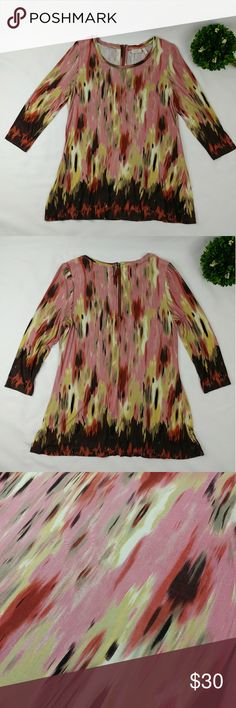 """LORI GOLDSTEIN scoop neck 3/4 sleeve print top LOGO LORI GOLDSTEIN scoop neck 3/4 sleeve top 95% RAYON 5% SPANDEX Very stretchy material Armpit to armpit laying flat 19"""" Length 29"""" In excellent gently used condition. Looks almost new Colors are brown, green, cream, orange and pink Tops Blouses"""