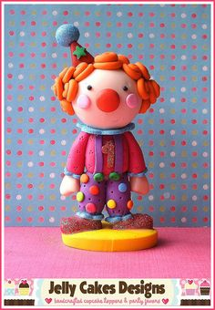 *POLYMER CLAY ~ clown topper by Jelly Lane Designs, via Flickr