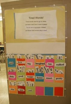 Interactive vocabulary wall. Writing minilesson on word choice- add an overused word and brainstorm synonyms.