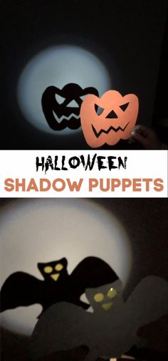 Easy Halloween Shadow Puppets - use card and lolly sticks to make these fun spooky puppets | Halloween Crafts for Kids #Halloween #Halloweencrafts #HalloweenScience